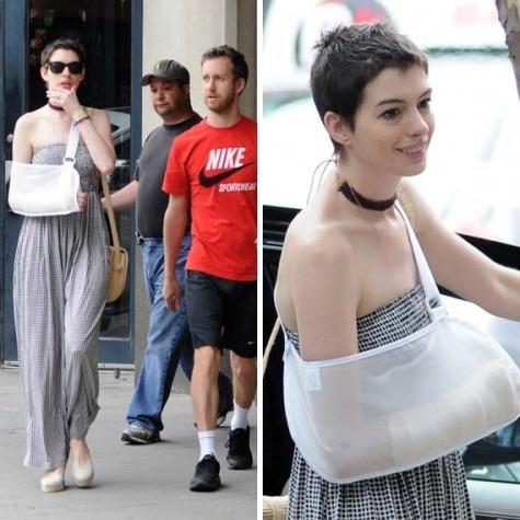 Anne Hathaway arm cast